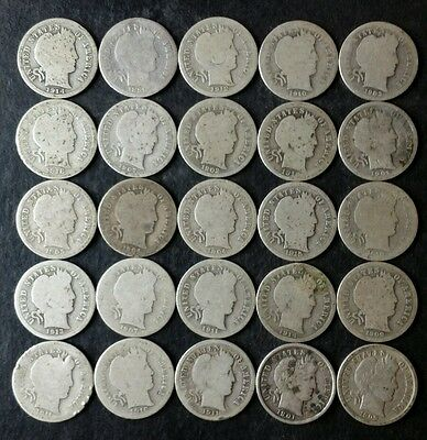 Lot of 25 10c Barber Silver Dimes
