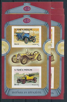 [H1814] Sao Tome & Principe 1983  Cars good Very Fine MNH imperfor. sheet x5