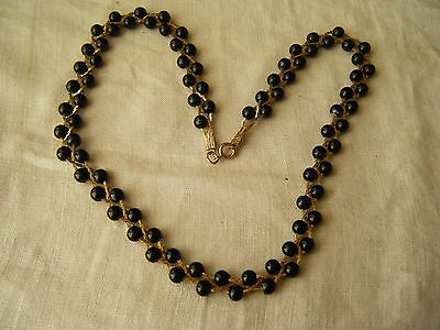 """Vintage Necklace Goldtone With Black Glass Beads, 17"""""""