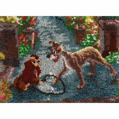 "Disney Dreams Collection Latch Hook Kit ~ Lady & The Tramp ~ 27x20"" Plain Canvas"