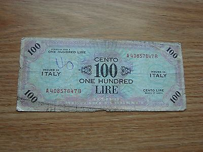 Italy Military Note 1943-A 100 Lire