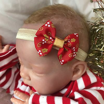 Baby Girl Light Gold Headband with Red Holly Print Bow Christmas