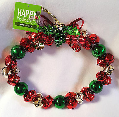 Jingle Bell Wreath Christmas Door Decoration Happy Holidays Red Green Metal 10""