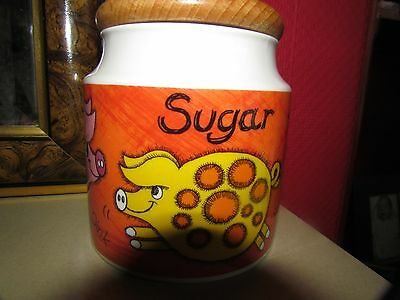 Funky Farm Stoneware  Sugar Cannister By Dunoon
