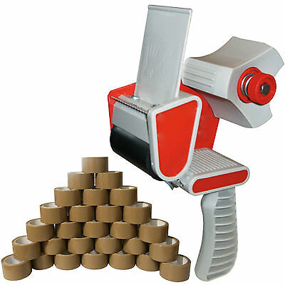 TAPE GUN DISPENSER + 12 HUGE ROLLS OF BROWN BUFF 48MM x 66M PARCEL PACKING TAPE