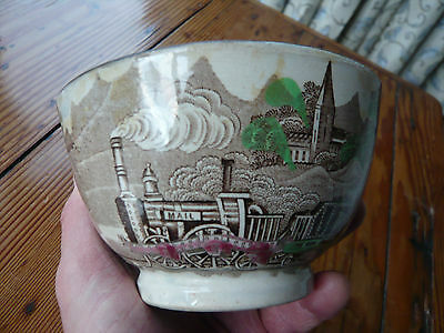 """Early Staffordshire mid-19th C. Railway Commemorative bowl. Loco """"Mail"""""""