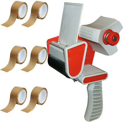 TAPE GUN DISPENSER + 6 HUGE ROLLS OF BROWN BUFF 48MM x 66M PARCEL PACKING TAPE