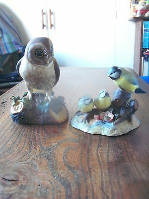 Crown Derby Birds Ornaments - Blue Tit And Chicks & Owl