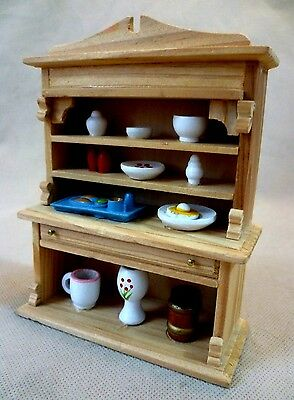 Collectable Dolls House Furniture - Pine Wooden Kitchen Dresser And Contents