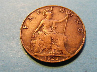 1922 George V Farthing Coin  - Good Condition