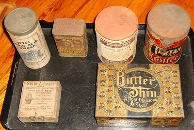 6 Antique Packaging Biscuits, Cocoa, Coffee, Boric Acid, Licorice Root, Alcohol