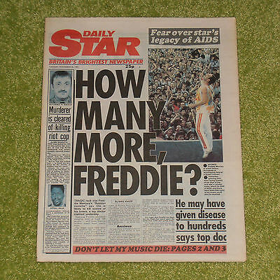 QUEEN/FREDDIE MERCURY How Many More? - UK 'DAILY STAR' NEWSPAPER (Nov 26th 1991)