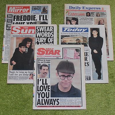 QUEEN Freddie Mercury Funeral - 5 x UK NEWSPAPER COLLECTION (November 28th 1991)