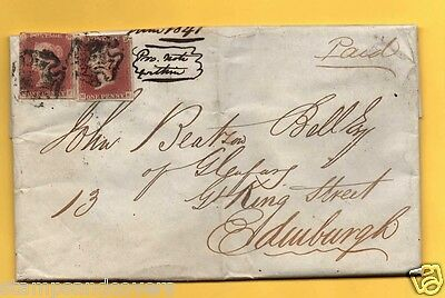 QV1841 ENTIRE LETTER, TWO 1d Reds, MALTESE CROSSES and FRAMED STIRLING Cancel