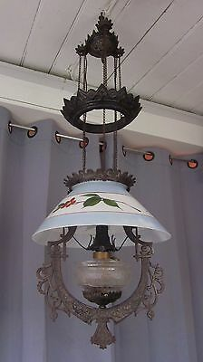 VTG Antique Victorian Iron Horse Hanging Oil Lamp Ceiling Eastlake Electrified