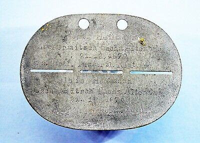 WW1 German Soldier tag (Rare. Printed on both sides)