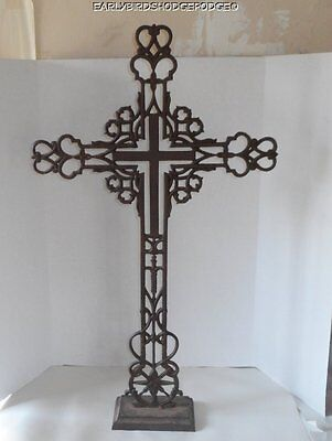 "VINTAGE  LARGE IRON WROUGHT IRON RELIGIOUS CHRISTIAN CROSS Yard Decor 38"" BY 23"""