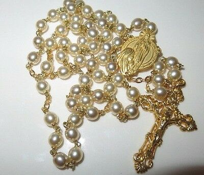 """St. Bernadette Lourdes Faux Pearl and Gold Tone Catholic Rosary 22.5"""""""