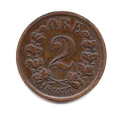 1877  Norway Two Ore -- Very Strong Details !!