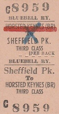 Bluebell Railway. Third Class. Horsted Keynes (BR) to Sheffield Park. 1 ticket