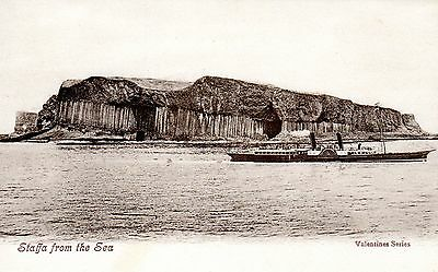 Vintage Postcard.isle Of Staffa From The Sea.paddle Steamer.scotland.