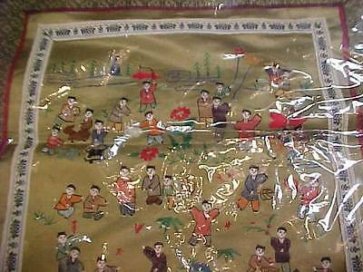 Chinese Hand Embroidered Silk Wall Hanging Panel 100 People