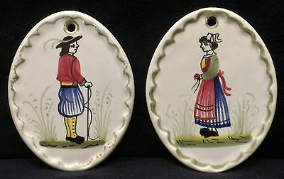 Henriot Quimper Christmas Ornaments 1982 - Breton Couple with Green Outline