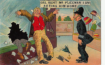 Orl Right Mr Policeman I Am Seeing Him Home Vintage Postcard Humour By Chandler