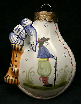 HB Henriot Quimper 1993 Christmas Ornament - Bagpipe Form with Young Breton