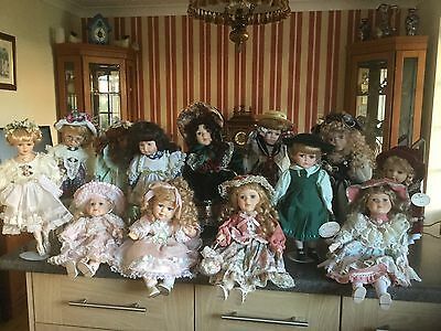 Job Lot of 13 Porcelain Dolls... Some Boxes And Magazines.