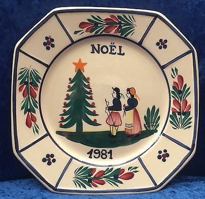 HB Quimper 1981 Christmas Plate with Breton Couple - Cream Background