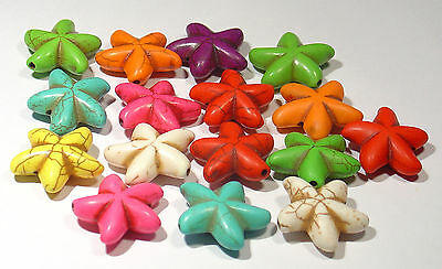 Lot Of 16  Howlite Stars Mixed Colours For Jewellery Making