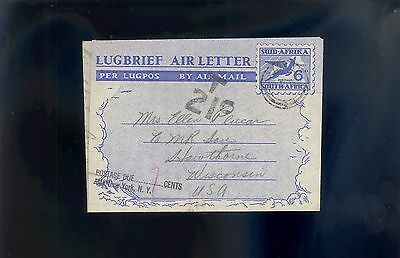South Africa Air Letter To Hawthorne, WI 1951