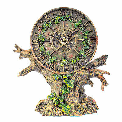"""Astrology Tree of Life Clock Zodiac Pentagram Wiccan Pagan Gothic 21cm 8"""" inches"""