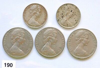 Australia Lot Of 5 10 And 20 Cent Coins Qeii  !! Combine Shipping!!!!