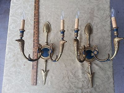 Vintage pair of early American style brass wall sconces Eagle head, double light