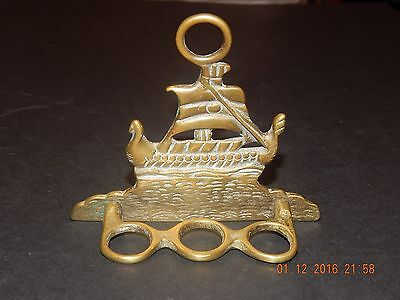 Wall Hanging Brass Galleon Ship Pipe Rack For 3 Pipes
