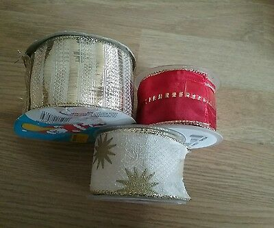 Christmas ribbon bundle  1 x  wide gold stripes 1 x red/gold 1 x cream gold sta