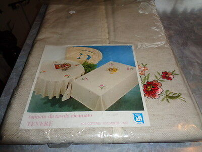 Vintage Misto Lino Embroided Tablecloth 140 X 240 New
