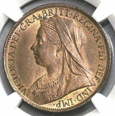 1899 NGC MS 63 RB Large Penny Victoria GREAT BRITAIN Coin (16120201C)
