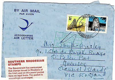 Rhodesia  Airletter With Illegal Stamps, Super Rare Into Guernsey