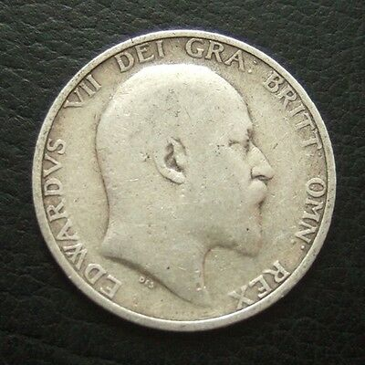 1906 EDWARD VII SHILLING : BRITISH .9250 STERLING SILVER COIN ...t54