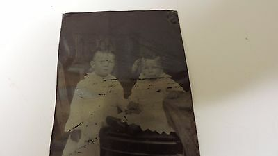 tintype photo antique darling siblings children on chair white gowns