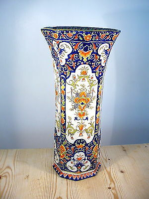 Tall Rouen French Faience Octagonal Vase