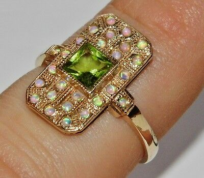 9ct Yellow Gold Peridot & Opal Victorian Design Cluster Ring - size O