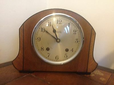 1950's Walnut Striking Mantle Clock By Pursers And Pickets