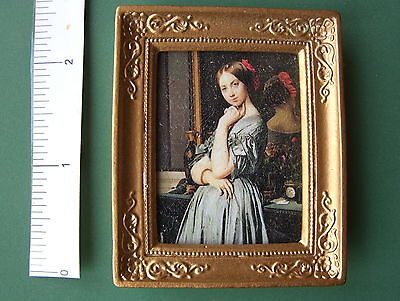 PICTURE gold Fancy frame LADY & MIRROR oil painting effect dolls house 12th