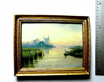 DOLLS HOUSE PICTURE DUTCH WINDMILL Classic gold frame oil painting effect 12th