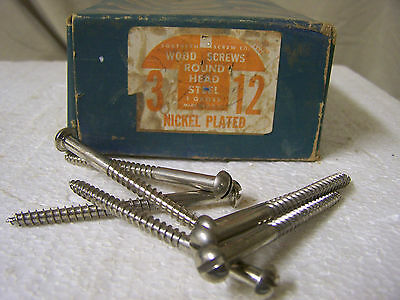 """#12 x 3"""" Nickel Plated Wood Screws Round Head Slotted - Made in USA - Qty. 144"""