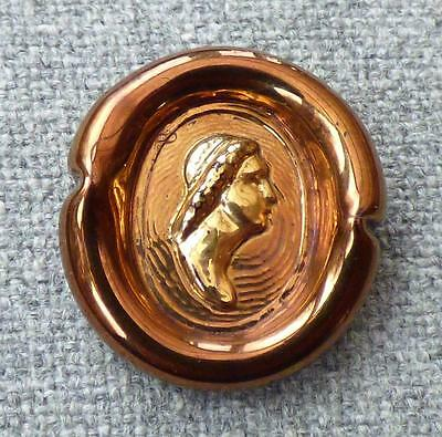 "ORPLID (Bimini) 22mm PRESSED GLASS BUTTON - ""CLASSICAL HEAD"" Bronze & Gold Glass"
